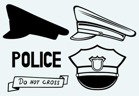 gorra policía: Gorra de policía de imagen aislado en el fondo azul