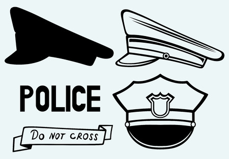 Polizei Mütze Bild isoliert auf blauem Hintergrund Standard-Bild - 25944401