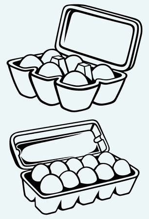 ailment: Eggs in a carton package  Image isolated on blue background