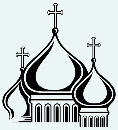 orthodoxy: The bulbous domes of orthodox cathedral temple  Image isolated on blue background