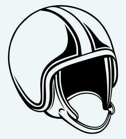 bicycle helmet: Motorcycle helmet  Image isolated on blue background Illustration