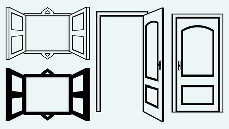 porte bois: Ouvrez la porte et la fenêtre image isolée sur fond bleu Illustration