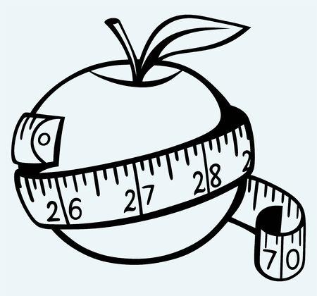 cintas metricas: Apple y cinta métrica de imagen aislado en el fondo azul Vectores