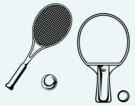 table  Tennis racket and ball  Image isolated on blue background