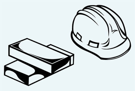 bricklayer: Hard hat and bricks isolated on blue background Illustration