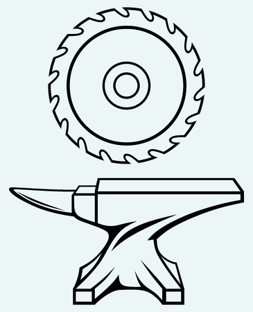 Circular saw blade and anvil  Image isolated on blue background