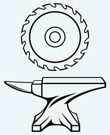 Zaagblad en aambeeld Afbeelding geïsoleerd op een blauwe achtergrond Vector Illustratie