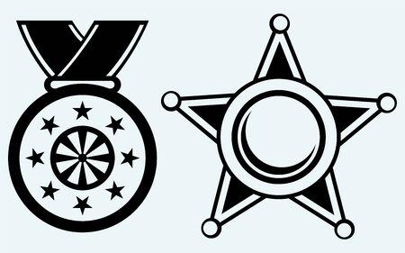 sheriff badge: Sheriff badge and medal with ribbon  Image isolated on blue background Illustration