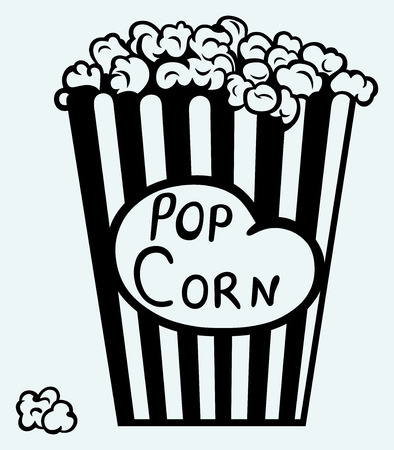popcorn: Popcorn exploding inside the packaging  Image isolated on blue background Illustration