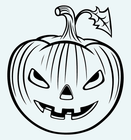 Halloween pumpkin  Image isolated on blue background Vector