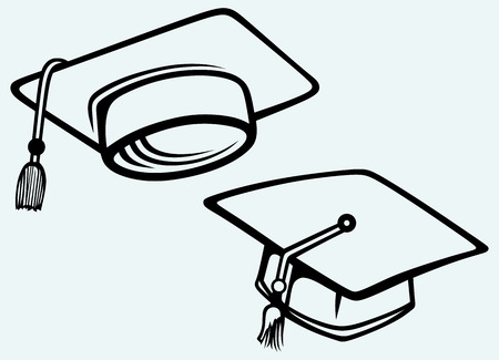 Student accessories  Graduation cap  Image isolated on blue background Vector