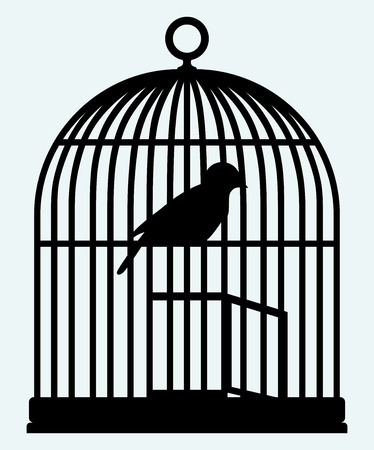 liberated: An open birdcage and bird  Image isolated on blue background Illustration