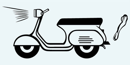 moped: Vintage scooter  Image isolated on blue background