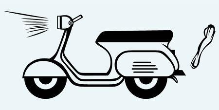 vespa piaggio: Vintage Scooter Immagine isolato su sfondo blu Vettoriali