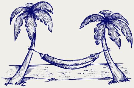 Romantic hammock between palm trees  Doodle style Stock Illustratie