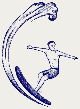 vague ocean: Surfer sur le style Ocean Wave Doodle