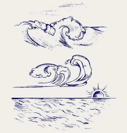 vague ocean: Beau style Ocean Wave Doodle Illustration
