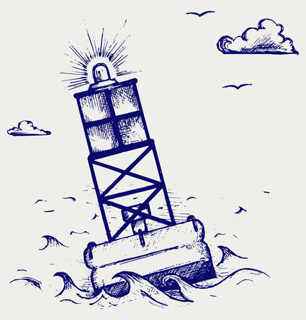 A warning buoy off the coast  Doodle style
