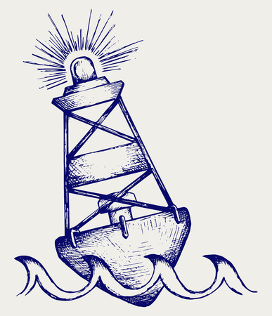 A warning buoy off the coast  Doodle style Vector