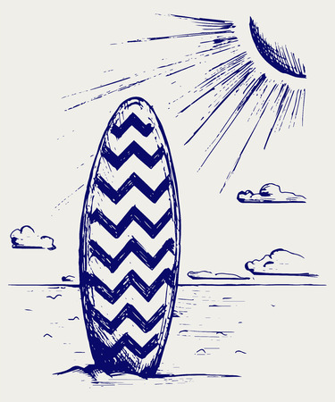 Surfboards on a beach  Doodle style Vector