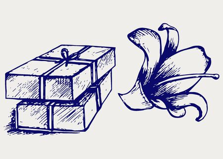 handmade soap: Pieces of natural soap with flower  Doodle style