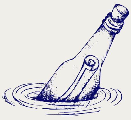 Bottle with a message in water  Doodle style Vector