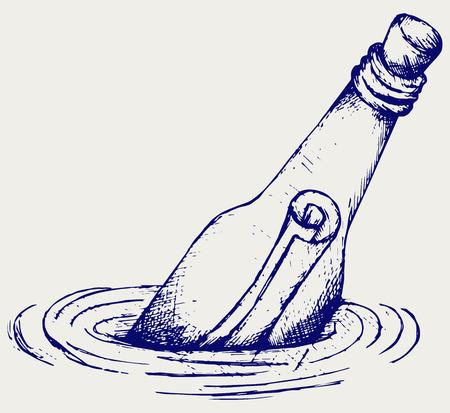Fles met een bericht in het water Doodle stijl