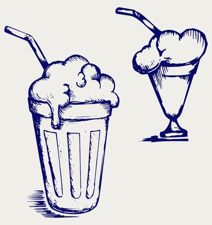 milk shake: Milk shake  Doodle style Illustration