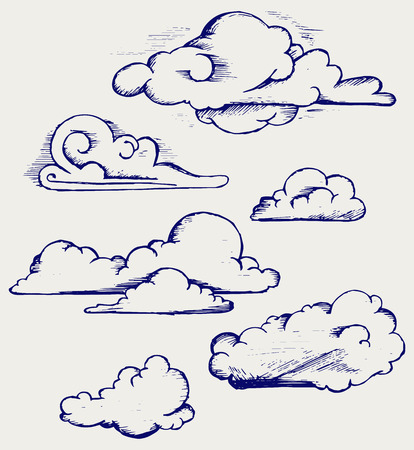 scratchy: Clouds collection  Doodle style