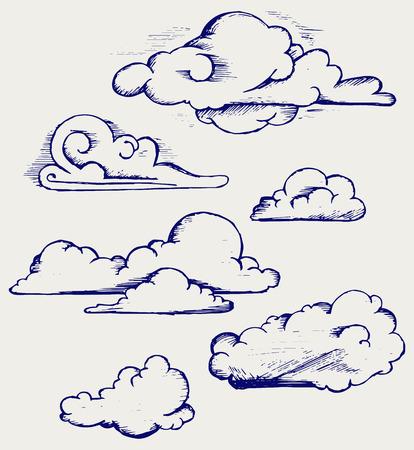 Wolken collectie Doodle stijl Stockfoto - 26135588