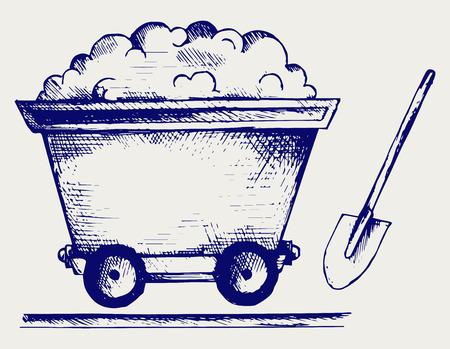 miner: Mining cart  Doodle style Illustration