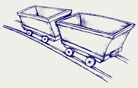 Mining cart  Doodle style Illustration