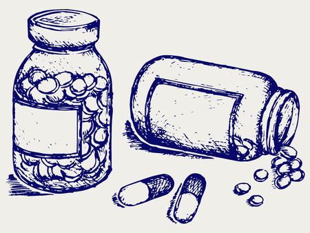 doses: Pill bottle  Spilling pills on to surface  Doodle style