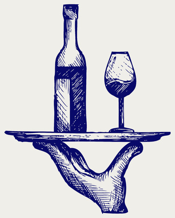 linework: Bottle of wine with a glass on a tray  Doodle style