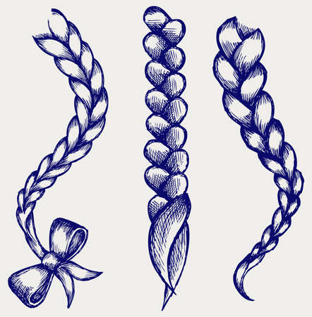 plait: Women braid  Doodle style
