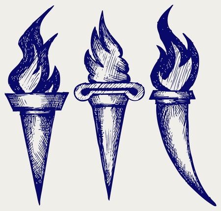 torches: Set of flaming torches  Doodle style
