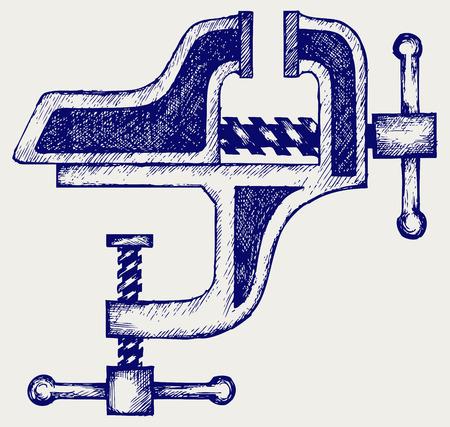vice grip: Household desktop vice  Doodle style Illustration