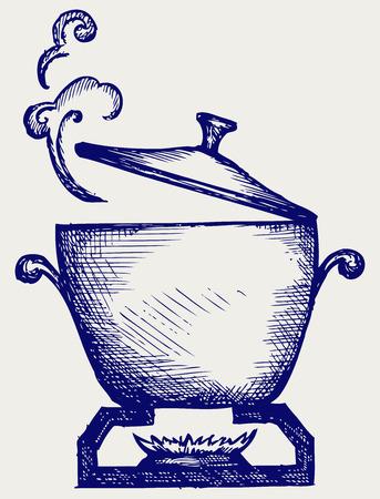 Cuisson dans le style de griffonnage de casserole en métal