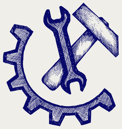 spanner: Spanner and hammer  Doodle style Illustration