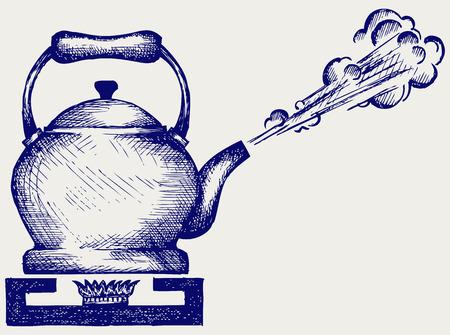 Tea kettle on gas stove  Doodle style Illustration