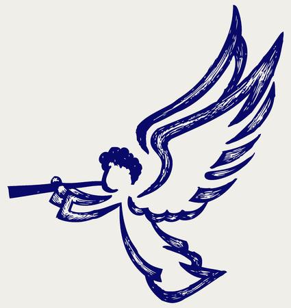 baby angel: Angelo con tromba stile Doodle Vettoriali