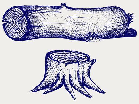 tree bark: Old tree stump and log  Doodle style