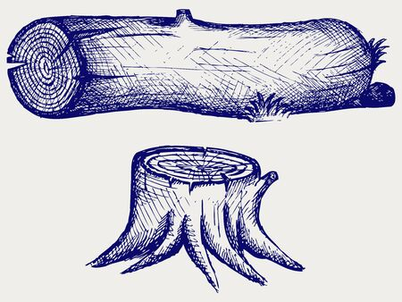 Old tree stump and log  Doodle style