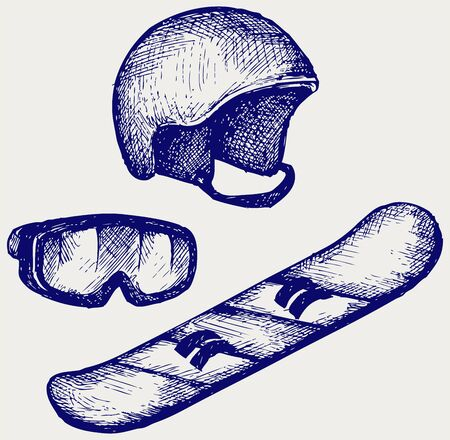 ski mask: Set equipment for snowboarding  Doodle style Illustration