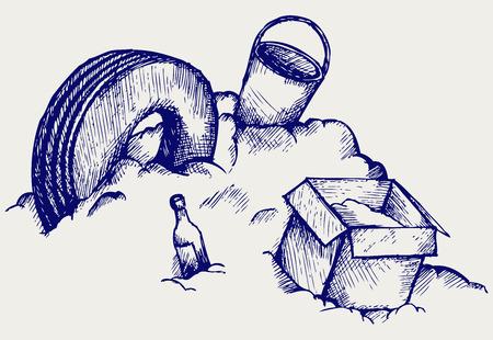 dumping: Dump  Mountain of garbage  Doodle style Illustration