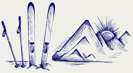skis: Mountains and ski equipments  Doodle style