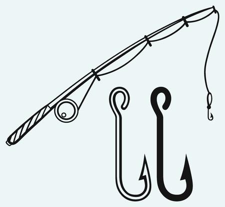 fishing hook: Canna da pesca e gancio di pesca isolato su sfondo blu Vettoriali