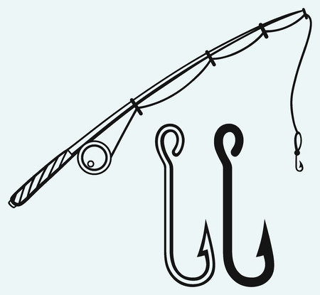 Fishing rod and fishing hook  Isolated on blue background Vector