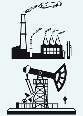 derrick: Concept of oil industry and factory  Isolated on blue background
