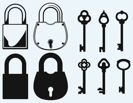 antique keys: Closed locks security icon  Antique keys collection  Isolated on blue background Illustration